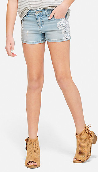 Lace Accent Destructed Denim Short Shorts