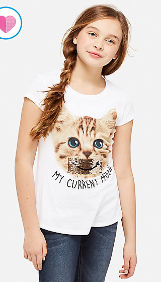 Current Mood Flip Sequin Graphic Tee
