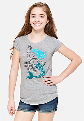 Mermaid Flip Sequin Graphic Tee