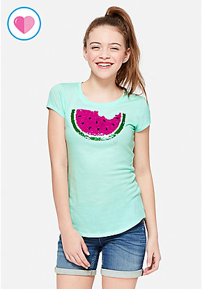 Watermelon Flip Sequin Tee