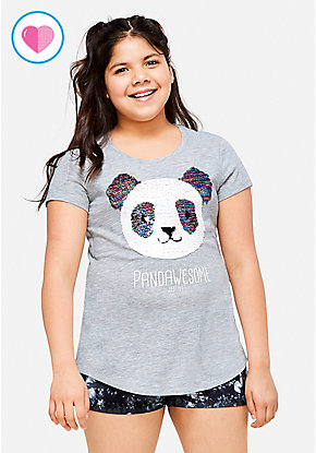 Pandawesome Flip Sequin Tee