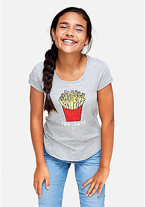 Fry Days Sequin Graphic Tee