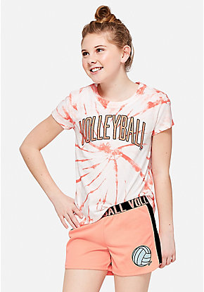 Volleyball Tie Dye Sparkle Tee