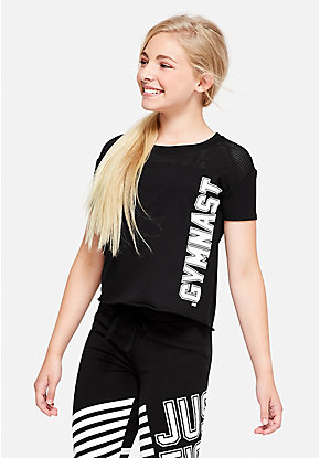 Gymnastics Mesh Shoulder Tee