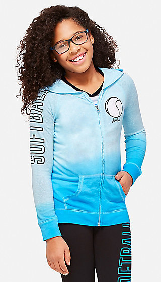 Ombre Softball Zip Up Hoodie