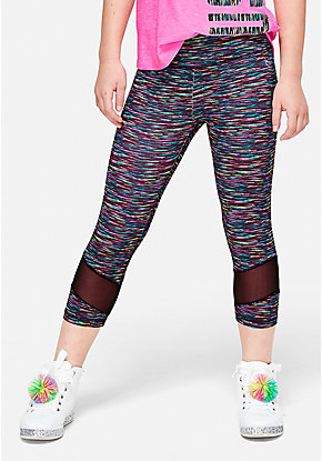 Space Dye Mesh Crop Leggings