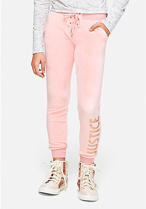 Lace Up Velour Joggers
