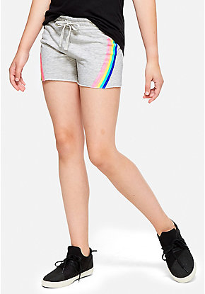 Rainbow Stripe Raw Hem Shorts