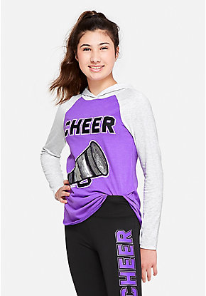 Cheer Hooded Long Sleeve Tee