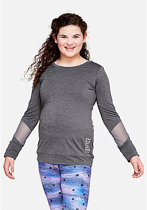Mesh Sleeve Long Sleeve Tee