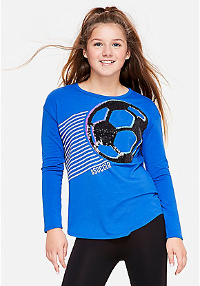 Soccer Flip Sequin Long Sleeve Tee