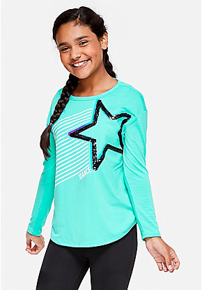 Dance Flip Sequin Long Sleeve Tee