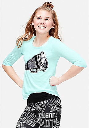 Cheer Flip Sequin Three Quarter Sleeve Tee