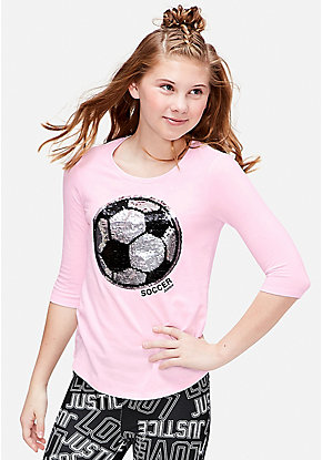 Soccer Flip Sequin Three Quarter Sleeve Tee