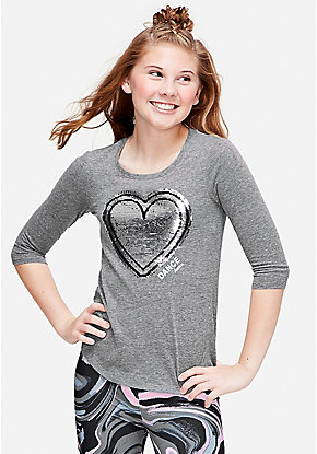 Dance Flip Sequin Three Quarter Sleeve Tee