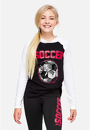 Soccer Hooded Long Sleeve Tee