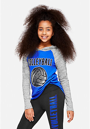 Volleyball Hooded Long Sleeve Tee