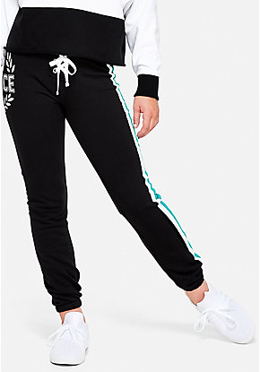Logo Stripe Lace Up Joggers