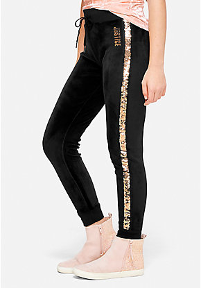 Velour Flip Sequin Stripe Joggers