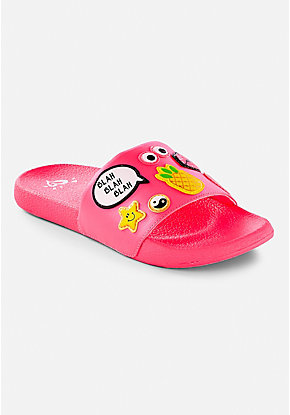 Pink Patch Slide Sandals