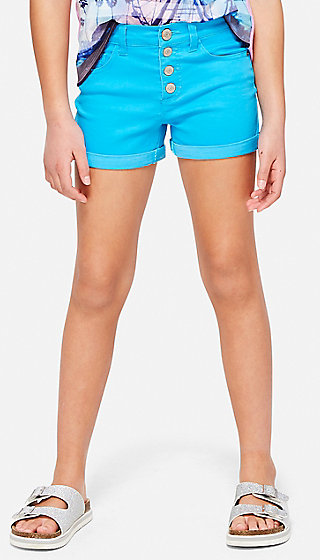Four Button Denim Midi Shorts
