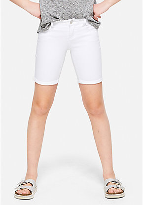 White Denim Roll Cuff Bermuda Shorts