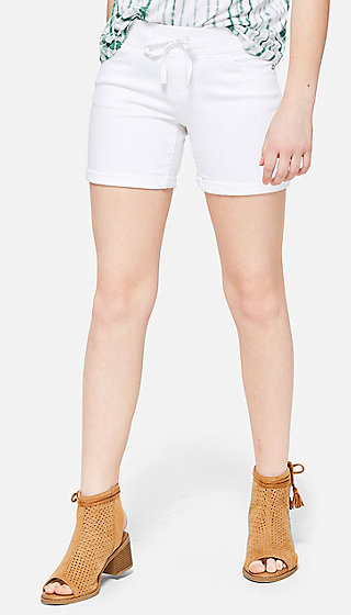Knit Waist White Denim Midi Shorts