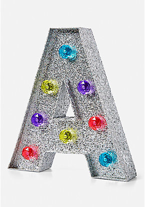 Glitter Rainbow Initial Marquee Light