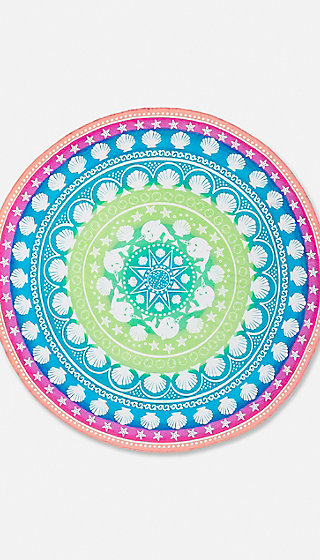 Rainbow Ocean Round Beach Towel