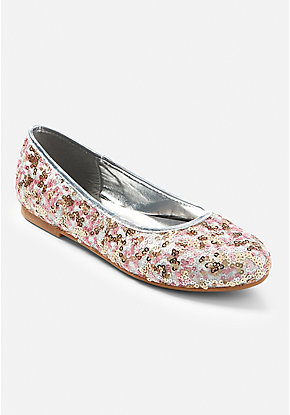Rose Gold Sequin Ballet Flat