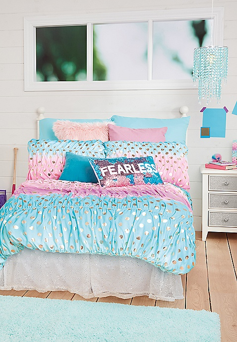 ombre foil dot bed in a bag queenfull sizes justice - Bedding In A Bag