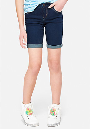 Double Roll Cuff Denim Bermuda Shorts