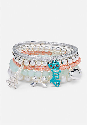 Paris Charm Stretch Bracelet - 5 Pack