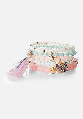Beaded Stretch Bracelets - 5 Pack