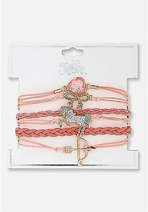 Braided Unicorns & Arrows Charm Bracelet