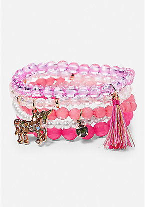 Unicorn Beaded Stretch Bracelets - 5 Pack