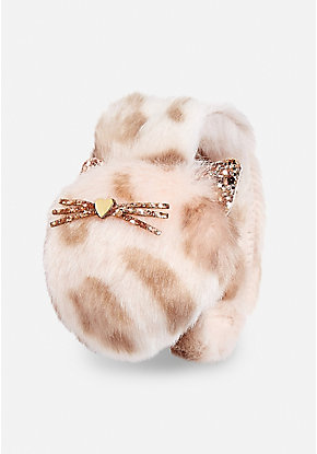 Rose Gold Cheetah Pompom Slap Bracelet