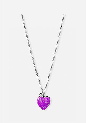 Purple Glitter Locket Necklace