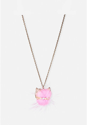 Fuzzy Cat Long Locket Necklace