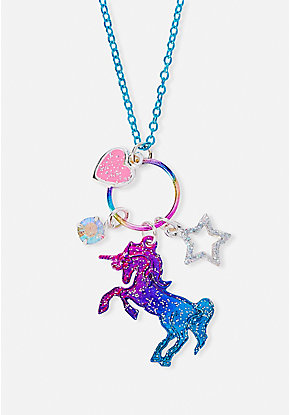 Rainbow Unicorn Ring Pendant Necklace