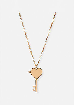 Girl Power Key Long Pendant Necklace