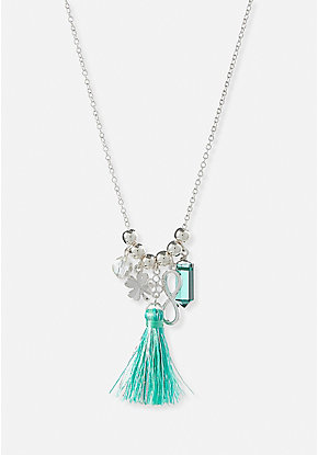 Turquoise Tassel Charm Necklace
