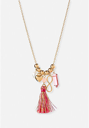 Pink Tassel Charm Necklace