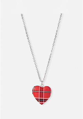 Plaid Heart Locket Necklace