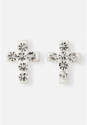 Crystal Cross Sterling Silver Stud Earrings