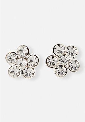 Crystal Daisy Sterling Silver Stud earrings