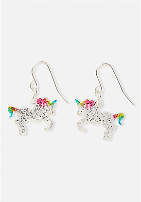 Glitter Unicorn Drop Earrings