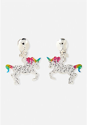 Glitter Unicorn Clip-On Earrings