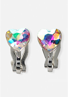 Crystal Heart Clip On Earrings