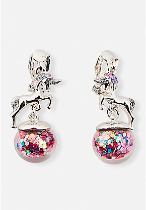 Unicorn Shaky Globe Clip-On Earrings